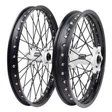 "Tusk Front Rear Wheel Rim Kit 21""-18"" Honda CRF250R CRF450R 2002-2012 Black Whit"