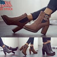NEW Women Ladies High Block Heel Buckle Ankle Boots Zip Up Casual Dress Shoes US