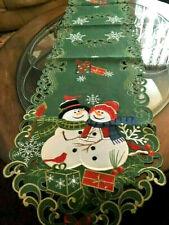 "Christmas Decor Table Runner Snowman Cardinal Snowflake Embroider 69"" L"