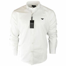 Men's Armani Plain White Shirt Long Sleeve Size S M L XL XXL