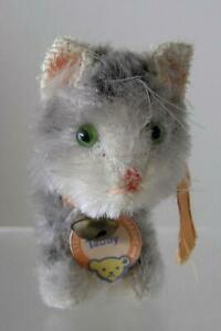 """1950's Original Steiff Tabby CAT standing smallest size 5"""" x 3"""" Chest Tag"""