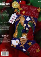 "Bucilla Silent Night ~ 18"" Felt Christmas Stocking Kit 85173 Nativity Baby Jesus"