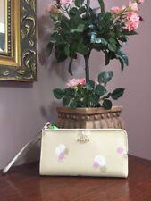 Coach Zippy Wallet Beechwood Tan Floral Print  L-Zip Wristlet 53842 W17