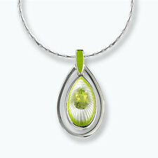 Nicole Barr Silver Peridot Set Enamelled Pendant on Chain