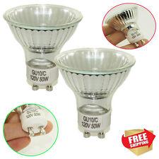 2× 50 WATT GU10 120V MR16 CLASSIC COOL WHITE HALOGEN GLOBES LIGHT BULBS LAMP EXN