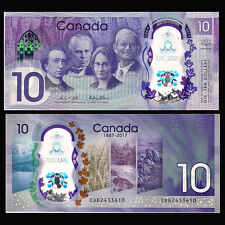 Canada 10 Dollars, 2017, P-NEW, Polymer, 150th Anniversary, UNC>COMM.