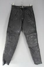 KETT BY LINTEK GLEAVE BLACK LEATHER BIKER TROUSERS: WAIST 30 IN/INSIDE LEG 31 IN