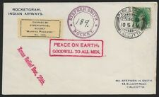 India 1938 rocketogram MARTHA PAGANINI No. 189 with label signed