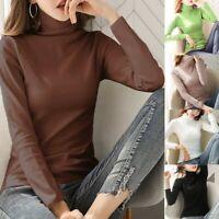 New Women TURTLENECK Tops Long Sleeve Cotton Stretch Blouse T-shirt Slim Jumper