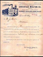 1898 Louisville Malting Co - Barley Rye Corn Malt - Kentucky Letter Head history