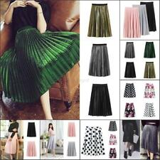 UK Womens Stretch High Waist Skirt Plain Skater Flared Pleated Long Skirts Dress