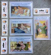 Set 4 Donald McGill Saucy Seaside Comical Postcard Tin Wall Plaque Humour