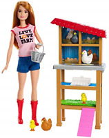 Barbie Chicken Farmer Doll Red-Haired and Playset with Henhouse and Accesso...