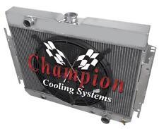 """3 Row SR Champion Radiator W/ 16"""" Fan for 1964 - 1967 Chevrolet Chevelle V8 Eng"""