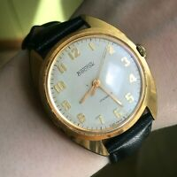 Watch USSR 70s Men's Classic VOSTOK Gold Plated Vintage TESTED Mechanical Analog