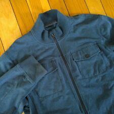 LULULEMON Mens Jericho Cotton Terry Full Zip Warm Up Jacket Heather Blue XL