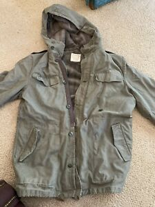 VTG German Army Military Hooded Cargo Field Coat  Removable Fleece Liner