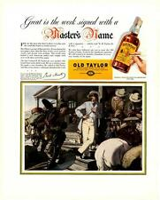 "1937 Old Taylor Straight Bourbon Whiskey Ad Antique Vtg Print 14x11"" Color"