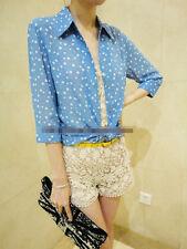 Korean Women's Fashion Chiffon Shirt Blouse Top Blue