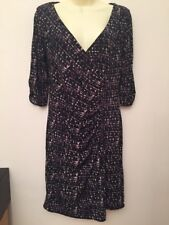 Coast Purple/Black Ruched Front Fully Lined Dress Size UK 12 BNWT
