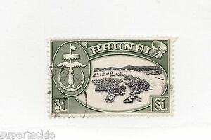 1970 Brunei Sc #112 Θ used f/vf $1  Kampong River Delta, architecture, flag