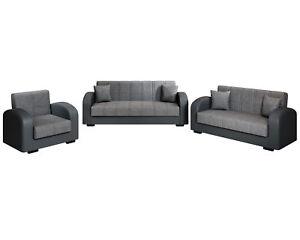 3-2-1 Sofa Set VERA Schlaffunktion Kunstleder Schlafsofa Bettkasten Webstoff NEU