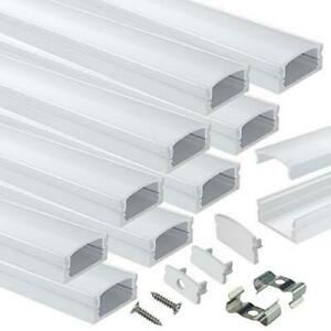 Muzata 10PACK 1M/3.3FT LED Channel System with Milky White Cover Lens, Silver