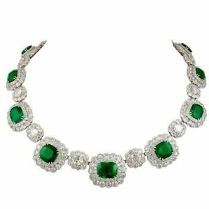 Cocktail Green Emerald Floral Diamond Studded 14k White Gold Plated Necklace