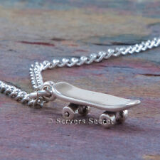 925 sterling silver SKATEBOARD 3D Skate Board Charm Pendant Chain Necklace