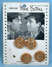 1948 Movie Star Buttons on Card James Stewart Henry Fonda On Our Merry Way