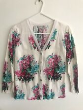 LAURA ASHLEY women's Floral White Pink Green Cropped Knit Cardigan Size 6 8 Xs S