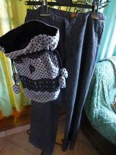 38-40 pantalonfemme =CAROCHE=+ gris et sac assorti pois gris   tissus doublé