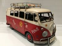 Tin Vintage Transport Red Model VW Volkswagen Camper Kombi Van Surfboards Hippy