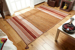 STRIPED RUST BEIGE Cotton KILIM Handwoven DHURRIE Rug Small 60x90cm MAT -60%OFF