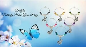 Butterfly Charm Wine Glass Ring, Marker Ombre Style Pearls 6 Piece Set