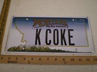 MONTANA MT VANITY LICENSE PLATE K COKE COCA COLA BEVERAGE DRINK