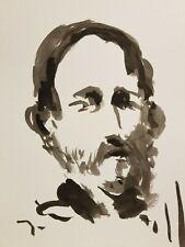 "JOSE TRUJILLO - Contemporary EXPRESSIONISM INK WASH 11X15"" Portrait Beard MAN"