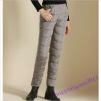 Womens Warm Down Cotton Pants Slim fit Trousers Windproof Straight Pants Fashion