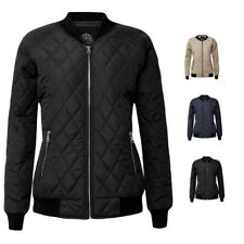 New Ladies Quilted Padded Bomber Puffer Women Zip Puffa  Jacket Ribbed Top