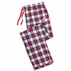 Disney Store Plaid Mickey Mouse Holiday Pajama Lounge Pants Mens Size Large