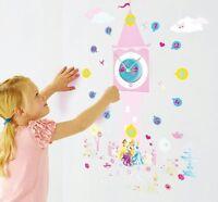 Disney Princess Tick Tock Teller Wall Clock- NEW Vinyl Sticker- PINK Girl's Room