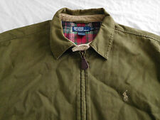 Polo Ralph Lauren Olive Green Plaid Lined Jacket Coat L Large Cotton