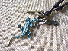 Antique Greek Bronze Gecko Lizard Cross Pendant Adjustable Real Leather Necklace