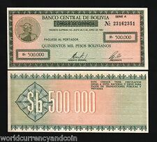 BOLIVIA 500,000 PESOS 500000 1/2 MILLION P189 1984 HIGH UNC WORLD CURRENCY 10PCS