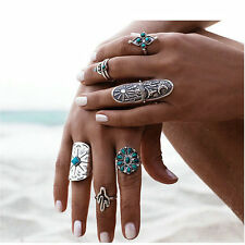 9PCS/Set Vintage Silver Punk  Boho Style Ring Womens Retro Geometry Finger Rings