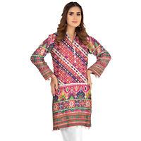 Plus Size Pakistani Indian Kurti Kurta Sufia Fashions®Cotton Digital Print Tunic