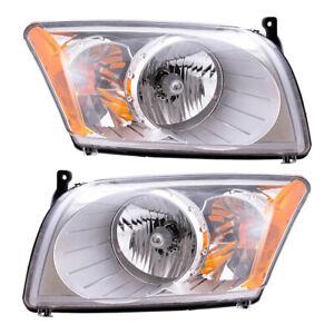 Pair Headlights for 07-12 Dodge Caliber Headlamp Housing Set 5303739AJ 5303738AJ