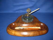 Antique Victorian Oak Stand Desk Top With Round Glass Inkwell