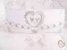 Faire Part mariage blanc argenté motif colombe