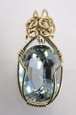 10K YELLOW GOLD FILLED WIRE WRAPPED BLUE ZIRCON OVAL HANDMADE PENDANT